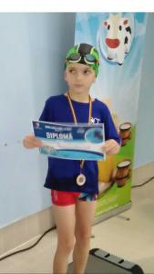 Dumitru David - 7 ani - loc 3 50m bras - octombrie 2018 -Bistrita